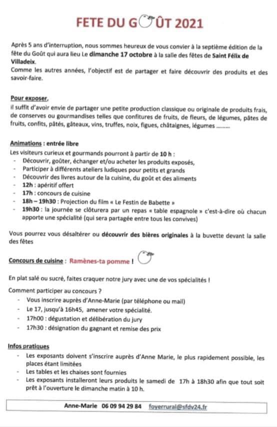 Best of Bergerac Agenda Fête du Goût 2021 Programme Saint-Félix-de-Villadeix